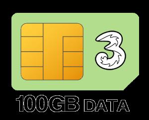 Three SIM Only 100GB Data