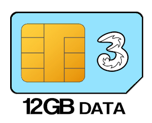 Three SIM Only 12GB Data